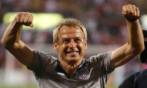 Jurgen Klinsmann celebrates USA 2-0 win over Mexico