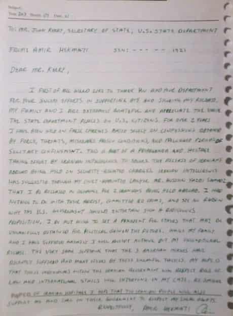 Amir Hekmati letter