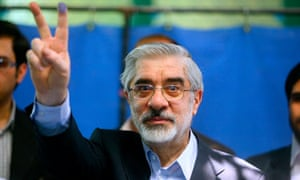 Iranian opposition leader Mir Hossein Mouhavi pictured after voting in 2009.