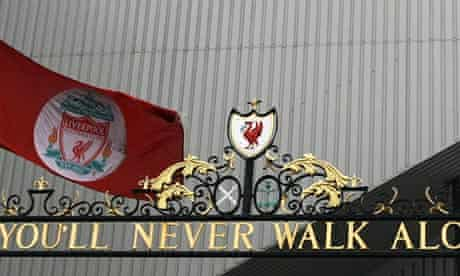 The Liverpool flag at half mast by the Hillsborough Memorial at Anfield.