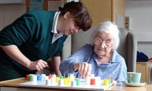 Elderly patient in hospital, England