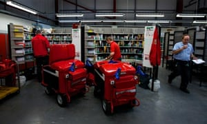 Staff at the Royal Mail delivery office in Barnoldswick, Lancashire
