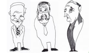 caricatures of people named in Greenpeace report on climate change denial