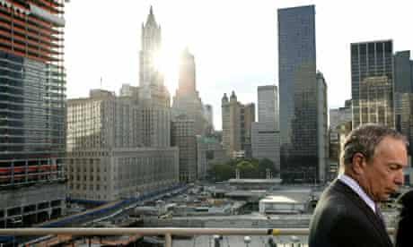 New York City Mayor Michael Bloomberg waits to speak with the media,