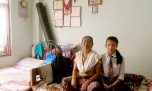 Kanchi and her granddaughter Pushpa in their home.