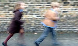 Primary school kids running
