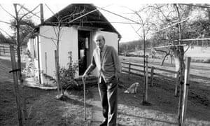 Roald Dahl outside his shed