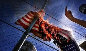 protesters burn US flag, LA 2000