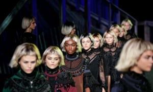 Models walk the runway at the Marc Jacobs show during spring/summer 2014 New York fashion week at Lexington Avenue Armory.