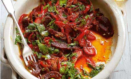 Hugh Fearnley-Whittingstall's stewed red peppers with chorizo