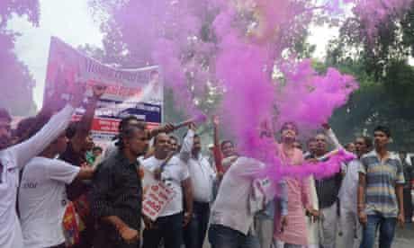 BJP supporters celebrate in Delhi, India