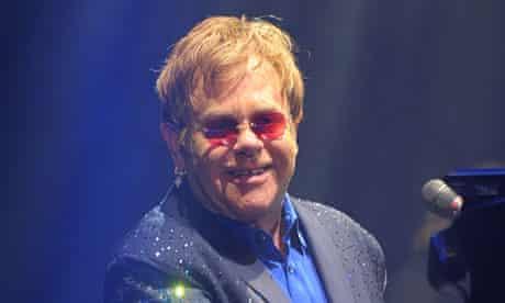 Elton John performing at Bestival.