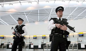 Police at Heathrow airport in London