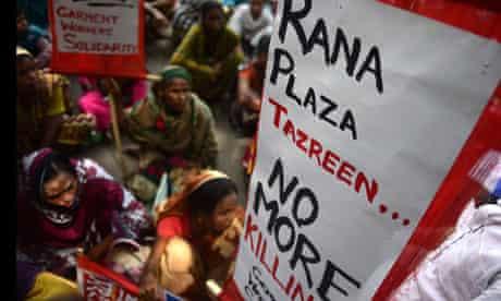 Bangladeshi garment protest in Dhaka