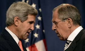 US secretary of state John Kerry speaks with Russian foreign minister Sergei Lavrov in Geneva