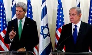 US secretary of state John Kerry and Israeli prime minister Benjamin Netanyahu speak to the press