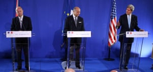 French Foreign Affairs minister Laurent Fabius US Secretary of State John Kerry  and British Foreign Affairs Secretary William Hague  give a press conference after talks on the Syria crisis in Paris.