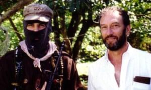 Saul Landau, right, in Chiapas, Mexico, in 1995