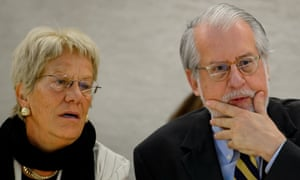 The chairman of the UN's Commission of Inquiry on Syria, Paulo Pinheiro, speaks to commission member, Carla del Ponte during the presentation of their report before the Human Rights Council's members in Geneva.