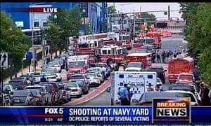 Fox 5 news shows emergency vehicles at Washington DC Navy Yard