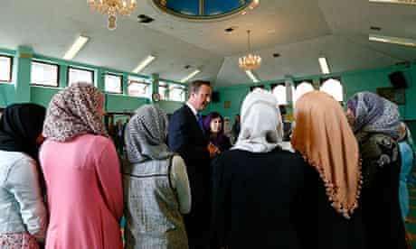 David Cameron in a Manchester mosque