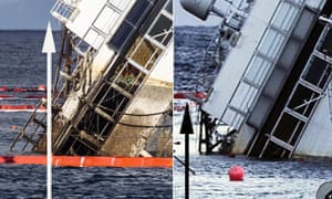 A composite image of two photos shows a rusty yellowish-stain line on the wreck of the Costa Concordia