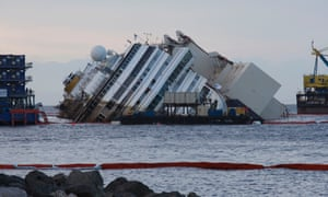 The Costa Concordia ship lies on its side on the Tuscan Island of Giglio