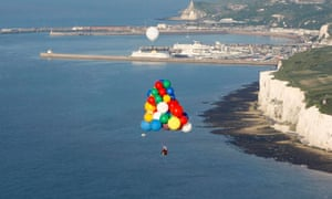 Jonathan Trappe Crossing The English Channel Flying A Cluster Balloon