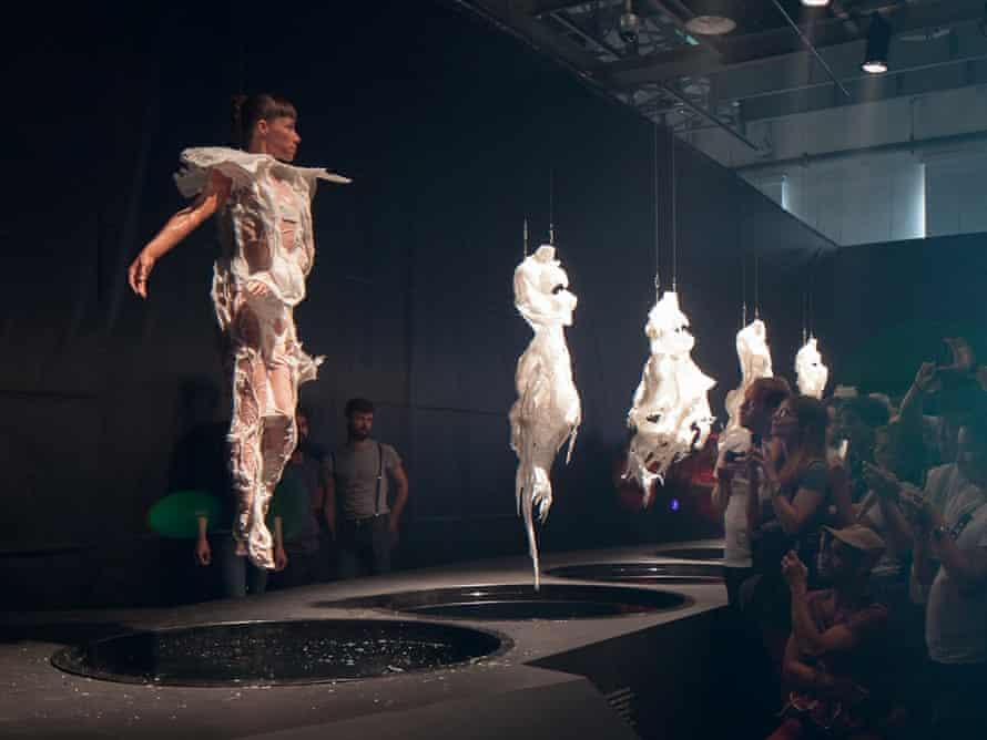 Wax dip … a performer emerges from a vat as part of Digital Artefacts by Dutch designer, Bart Hess.