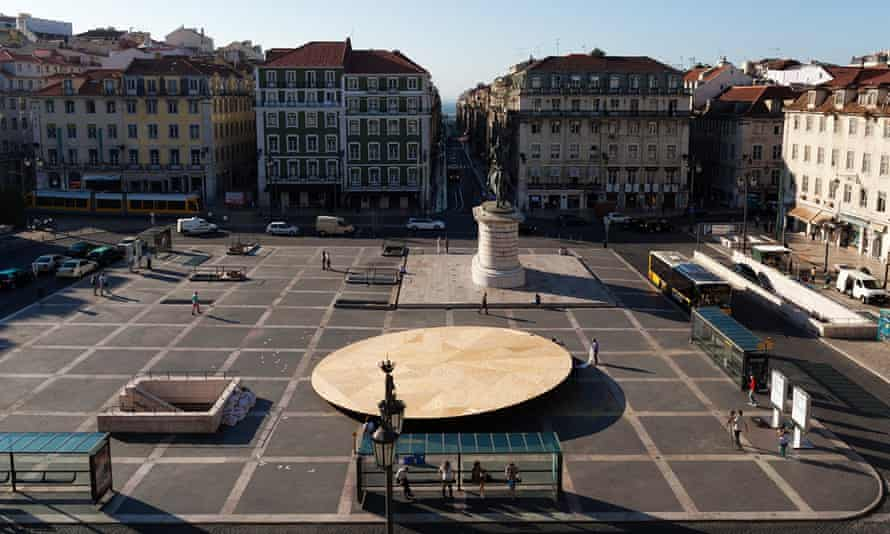 Tilted saucer … The Civic Stage in Praça da Figueira, by Mexican architect Frida Escobedo.