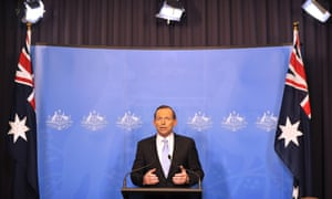Australia's prime minister-elect Tony Abbott announcing his incoming cabinet in Canberra on 16 September 2013.