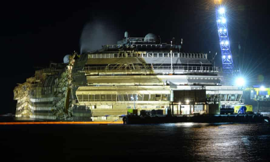 The wreck of Italy's Costa Concordia standing upright in the water.