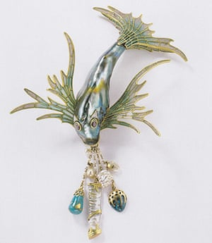 Pearls: Bodice ornament, gold, enamel, turquoise, abalone pearl, mother-of-pearl