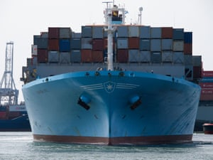 Large container ship Maersk Kiel seen from the front Rotterdam port