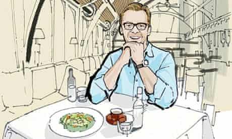 Simon Pegg at Brasserie Blanc illustration