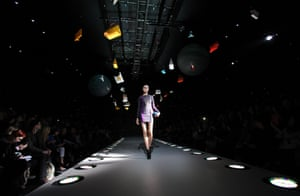 A model walks the runway at the Anya Hindmarch show
