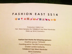 """London Fashion Week """" LFWplog Fashion east The emoticon-inclined of us were thrilled to see this jolly line-up on the Fashion East show notes. The ghost is my favourite."""