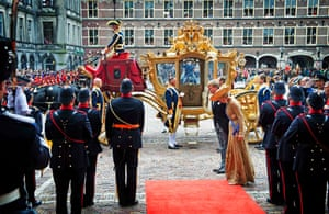 King Willem-Alexander and Queen Maxima arrive to officially open the new parliamentary year with a speech outlining the caretaker government's plan and budget policies for 2014.