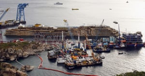 Here's a wide view of the stricken, but upright Costa Concordia off Giglio Porto, Italy.