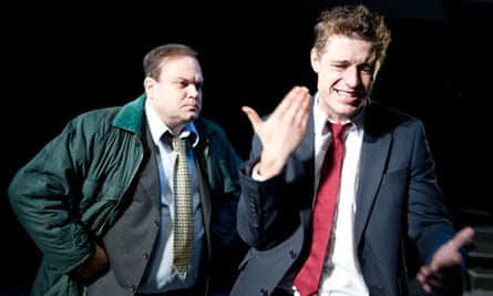 Shaun Williamson and Max Irons (right) in Farragut North at Southwark Playhouse, London