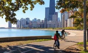 Cyclists riding along Lake Michigan