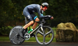 Sir Bradley Wiggins in action on his way to winning stage three of the Tour of Britain, a 16km individual time trial in Knowsley Safari Park, Merseyside.