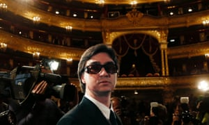 Bolshoi Ballet company artistic director Sergei Filin arrives for a meeting of the company in the Bolshoi Theatre in Moscow, Russia. Filin returned to work, eight months after an acid attack that nearly blinded him.