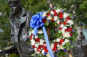 A wreath laid by US Secretary of Defense Chuck Hagel during a ceremony at the Navy Memorial to honour the victims of the Washington Navy Yard shootings yesterday.