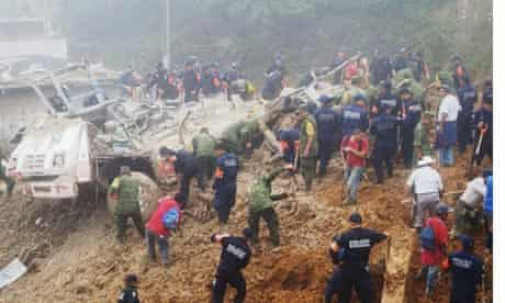 Landslide in Mexico in tropical storms