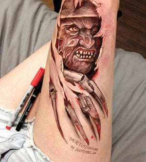Thigh Doodles: Thigh doodle of Freddy Krueger