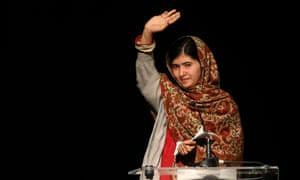 Malala Yousafzai gives a speech receiving the Amnesty International Ambassador of Conscience award for 2013 at a ceremony in Dublin.
