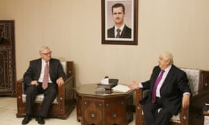 Syrian Foreign Minister Walid al-Moallem meets with Russia's Deputy Foreign Minister Sergei Ryabkov for talks in Damascus.