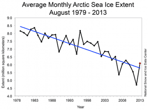 The yearly sea ice extent variation can bely the long-term trend.