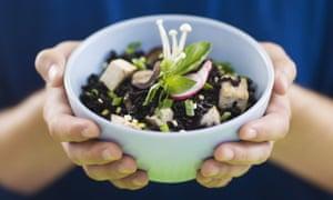 Vegan black rice, tofu and mushroom salad.